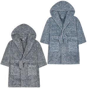 Boys-Dressing-Gown-Kids-New-Soft-Touch-Fleece-Hooded-Robe-Grey-Blue-Age-2-13-Y