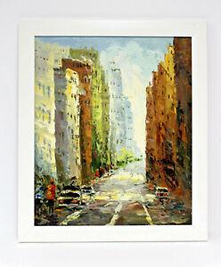 New-York-City-Street-Scene-20-x-24-Art-Oil-Painting-on-Canvas-w-White-Wood-Frame