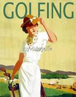 Vintage Lady Golfing Golf Quilting Fabric Block