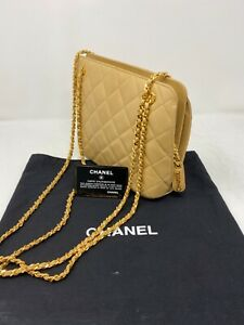 COA-CHANEL-VTG-Matrasse-Leather-Double-Gold-Chain-Shoulder-Bag-Beige-Quilting