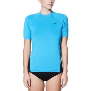 Nike-hydroguards-WOMEN-039-S-Nike-Swim-Tinta-Unita-Manica-Corta-HydroGuard-BLU