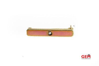 Vintage Unique 14K Solid Yellow Gold LSA Designer Pearl /& Enamel Brooch Pin