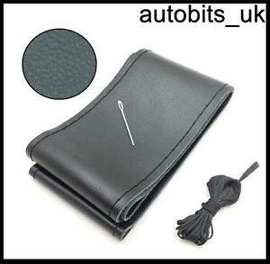 BLACK-GENUINE-LEATHER-DIY-STEERING-WHEEL-COVER-SIZE-M-WITH-NEEDLE-AND-THREADS-J
