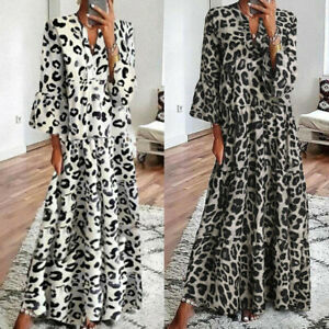 Women-Leopard-Print-Long-Maxi-Dress-Ladies-Baggy-V-Neck-Kaftan-Tunic-Shirt-Dress