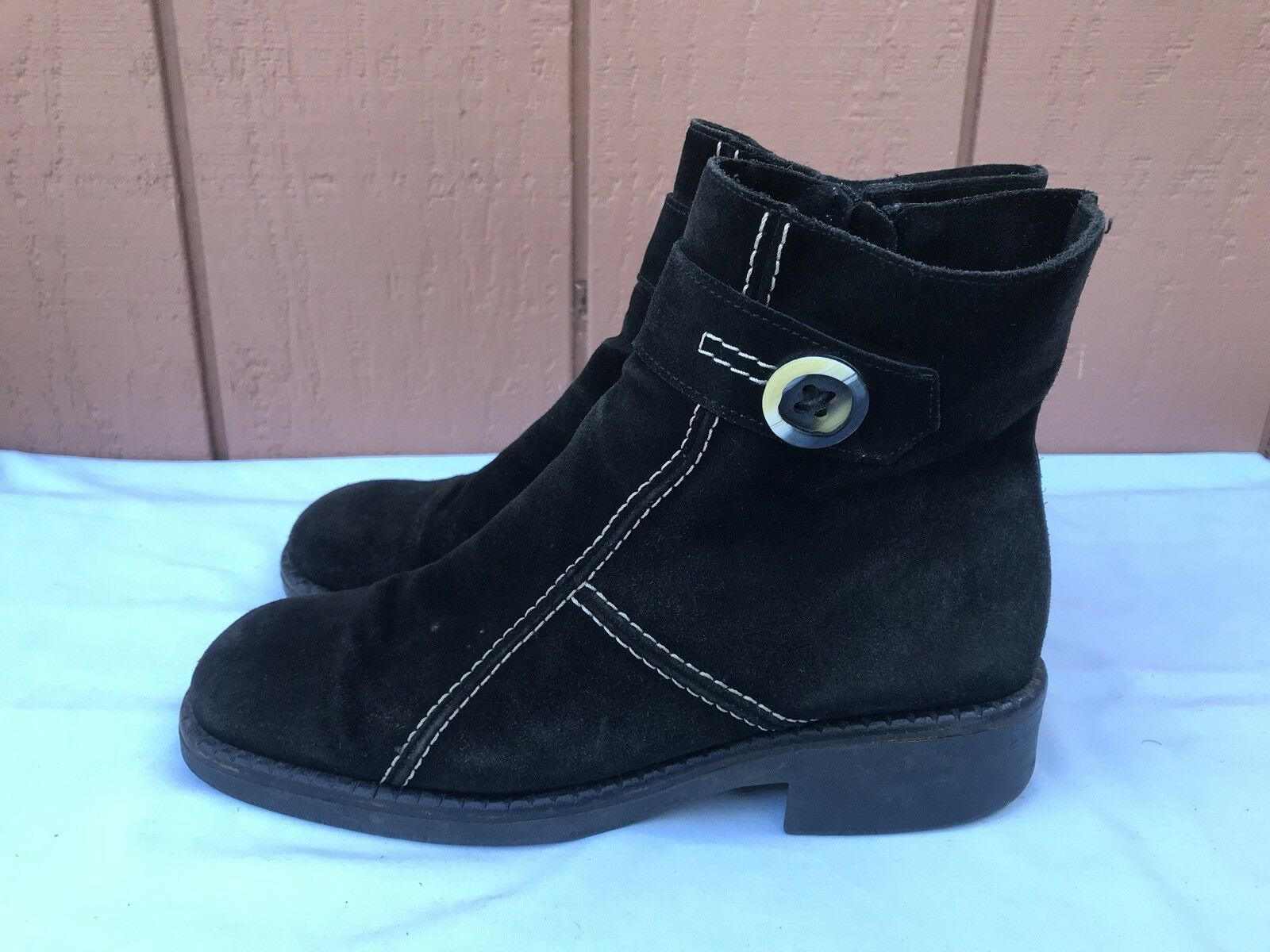 Raro C la canadiense para Mujer Moda Tobillo botas 11474 US 12 M Negro Gamuza Zip A9