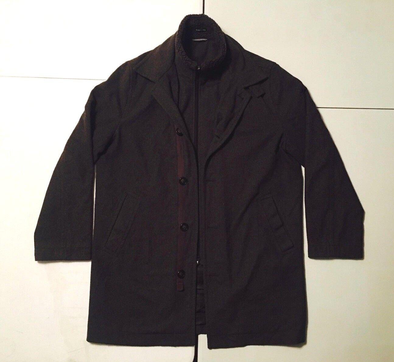 Nautica Men's PG Knit Collar Insert Wool Blend Coat, Brown 40R Regular