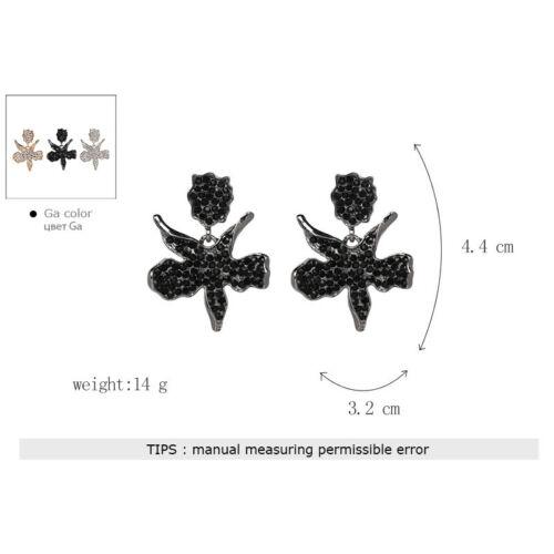 Boucles d/'Oreilles Clous Argenté Floral Metal Pavé Cristal Blanc Retro AA28