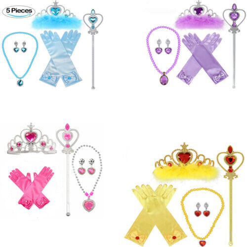 5pcs Princess Belle Dress up Party Accessory Gift Set Gloves Wand Girls Necklace