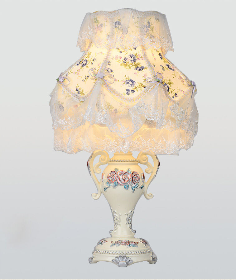 European Style E27 Width 30CM Height 50CM Resin+Fabric Bedroom Table Lamp  A