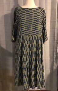 Toast-Blue-amp-Yellow-Ikat-Print-Dress-UK-Size-10