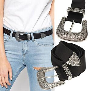 Details about Ladies Vintage Buckle PU Leather Western Belt Women Dresses Jean Charm Waistband