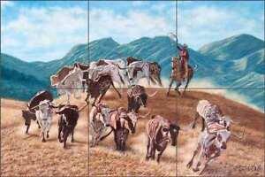 Longhorn-Tile-Backsplash-Delby-Cowboy-Western-Art-Ceramic-Mural-RDA001