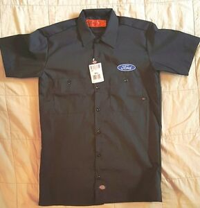 05e28773a4 Details about NEW CUSTOM DICKIES # LS535 NAVY EMBROIDERED FORD LOGO MECHANIC  WORK SHIRT