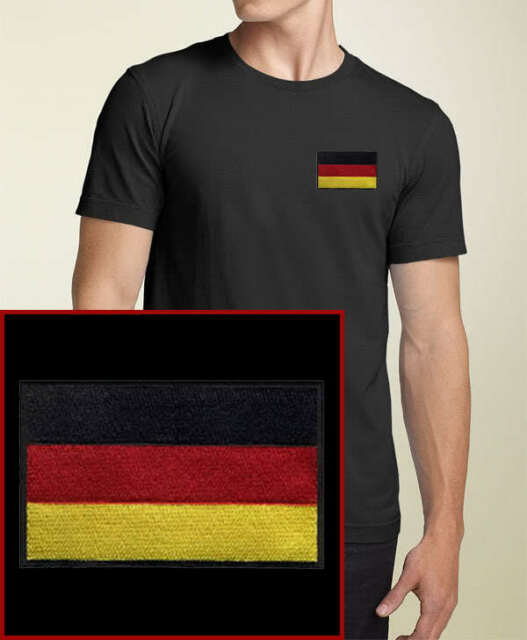 German Flag EMBROIDERED Black Germany T-Shirt * NEW *