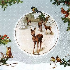 4 Vintage Table Paper Napkins for Party Lunch Decoupage  Christmas Animals 1//1