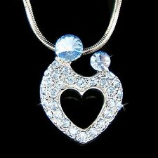 w Swarovski Crystal MOM ~Mother Love Baby~ Child Kids Heart Necklace Mothers Day