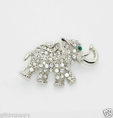 Elephant Pin Brooch Coat Pendant Crystal with Green Eyes