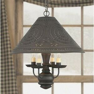 remarkable kitchen country chandelier | Homespun Colonial Shade Light in Black | Country Kitchen ...