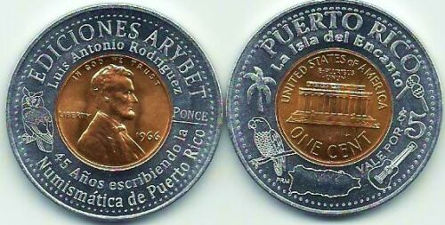 $5 ARYBET PUBLISHING Ponce Since 1966 ENCASED Lucky PENNY Anillado PUERTO RICO