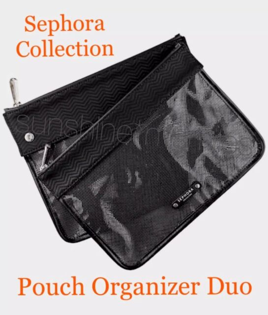 Sephora ~ POUCH ORGANIZER DUO ~ Set of Two Clear Mesh Travel Makeup Bag ~ BLACK