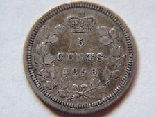 1858 Five 5 Cents Silver Canada , Canadian Silver Coin, Queen Victoria