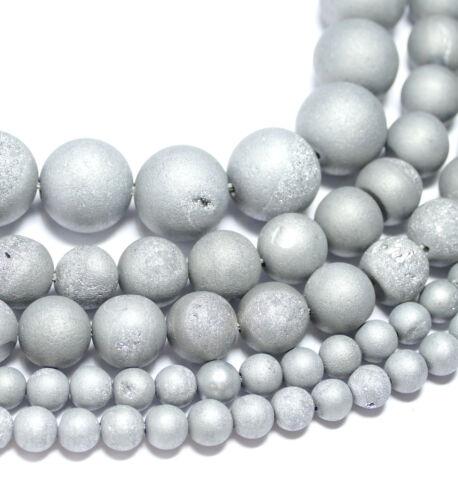 Achat Perle Kugel matt silber Drusen 6-18 mm 1 Strang BACATUS Edelstein #1015