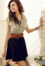WITH BELT -New Fashion Women Polka Dot Short Sleeve Waist Dress Summer Dress