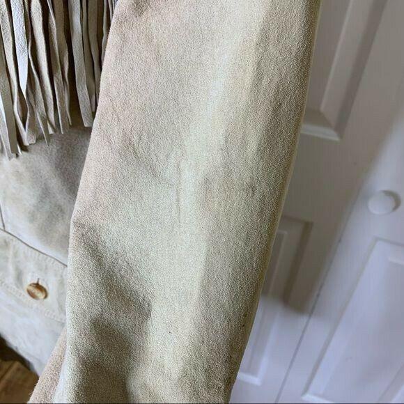 Vintage Unisex Tan Leather Fringed Jacket - Large - image 12