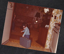 Vintage Photograph Cute Little Boy w/ Mickey Mouse Ears Playing w/ Luggage