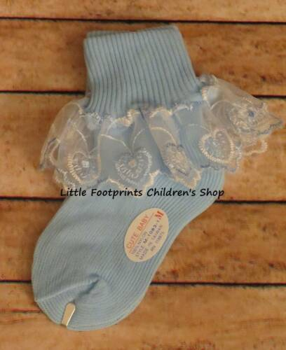Baby Toddler Girl Heart Lace Socks Pink White Blue Yellow  Shoe Sizes 0 thru 6