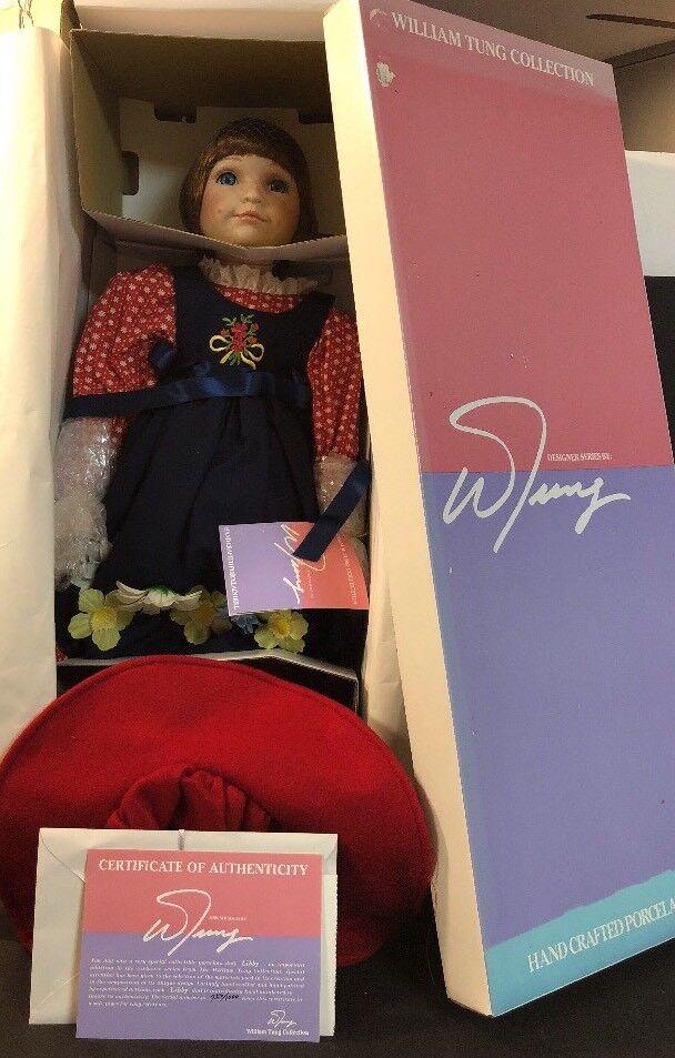 """23"""" William Tung Designer Porcelain Doll NIB COA 750 1000 Libby rosso Hair blu Ey"""