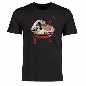 Men Funny T-shirts Japan The Great Ramen off Kanagawa Shirt Cotton Short Sleeve