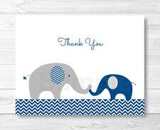 Navy Blue & Grey Chevron Elephant Thank You Card Printable