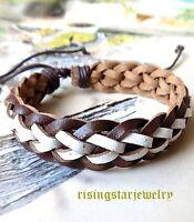 Men Braided Multi Color Leather Fashion Surfer Biker Hip Hop Bracelet Wristband