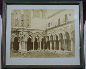 Antique-PHOTOGRAPH-PRINT-Cloister-of-the-Abbey-of-Monreale-Sicily-Italy-Framed