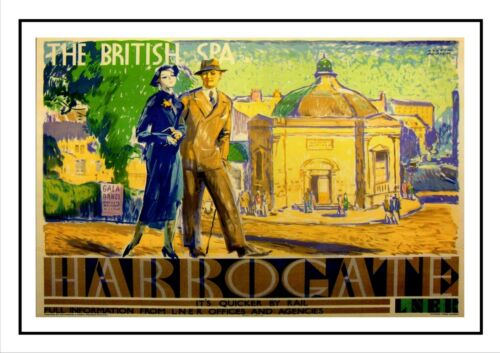 Harrogate Railway Old Advert Poster Beauty View Family Holiday Spa Resort Photo