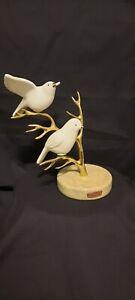 BIJAN White Porcelain/Ceramic Birds on Brass 8 inches tall Vintage 1980