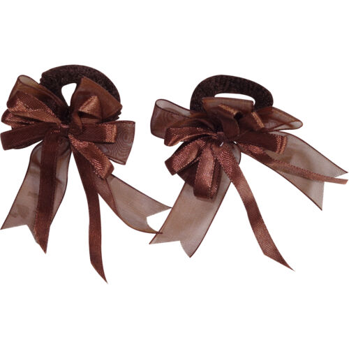 Pair of Small Brown Hair Bow Ribbon Scrunchie Elastics Bobbles Girls Accessories