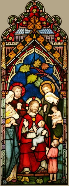 """Antique Church Hand Painted Stained Glass """"Jesus Blessing"""" - Can Ship Worldwide"""