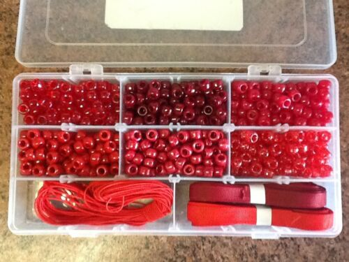 20 Metres stringing Beads Kit Approx 600 Pony Beads 1x18 Compartment Case