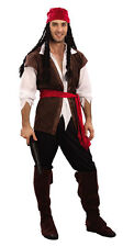 PIRATE MAN Caribbean Complete Fancy Dress Costume Outfit Mens Stag Party Regular