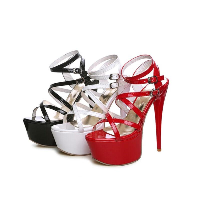 Nouveau Haut Haut Haut Plateforme à Lanières Et Bout Ouvert Talon Aiguille Sandale Femmes Talon Haut Chaussures Taille 95ec79