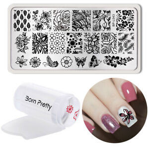 3Stk-BORN-PRETTY-Nagel-Stamping-Schablone-Platte-mit-Clear-Jelly-Stempel-Stamper