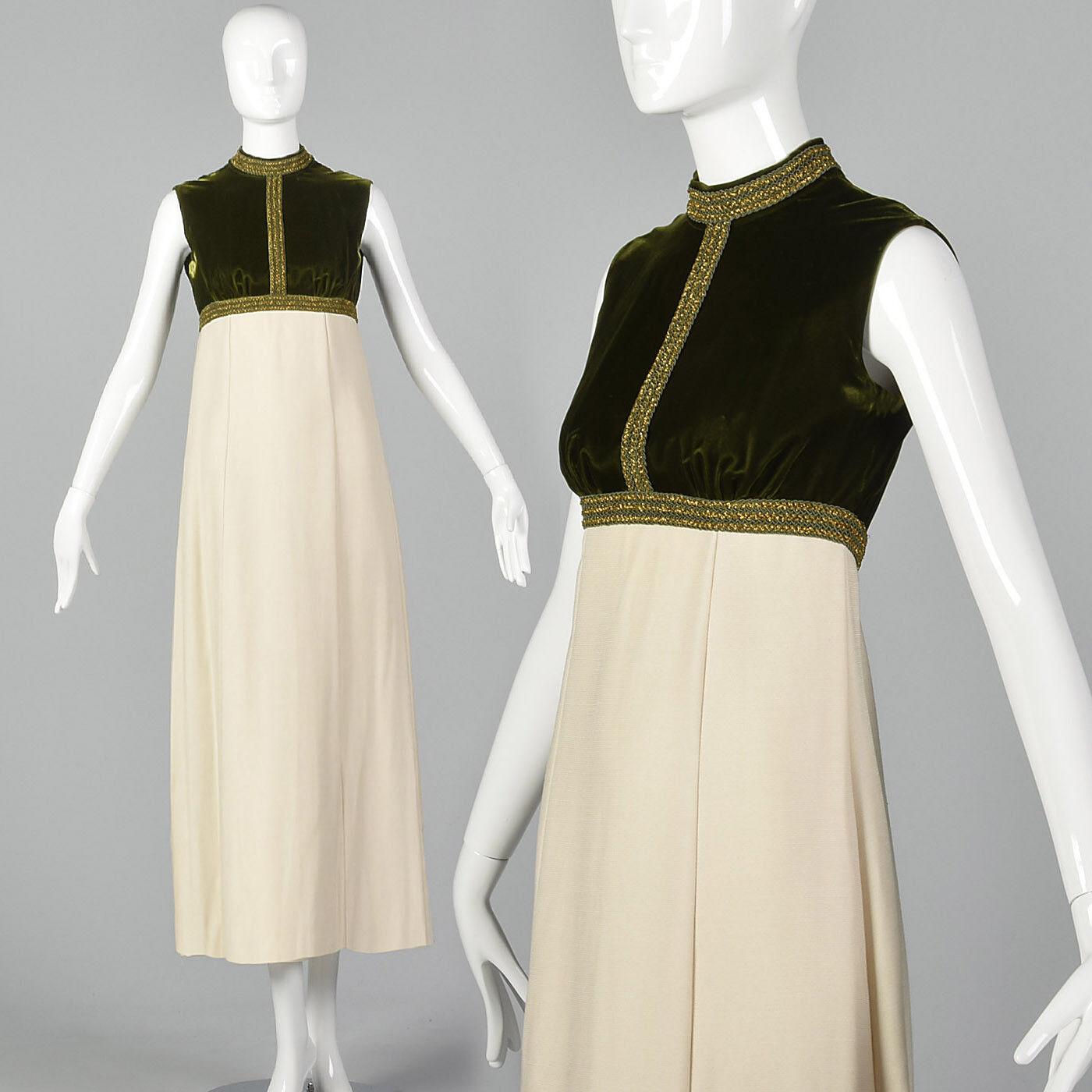 XXS 1960s Grün and Ivory Formal Dress Empire Waist VTG Formal Prom Dress