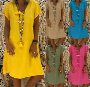 Womens-Plus-Size-Summer-Pullover-Short-Sleeve-Baggy-T-Shirt-Dress-Tops-Sundress