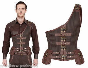 vintage gothic steampunk pirate herren gents korsett leder victorian corset cs1e. Black Bedroom Furniture Sets. Home Design Ideas