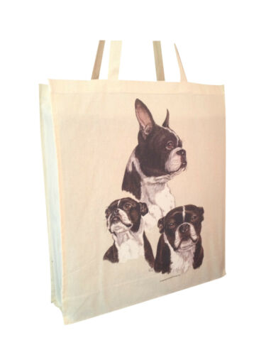 Boston Terrier b Cotton Shopping Tote Bag with Gusset and Long Handles