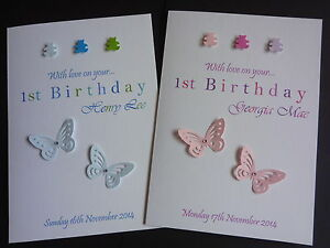 Image Is Loading Babys 1st Birthday Card Handmade Amp Personalised Large