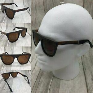 Men's Ebony Wood Plate Frame Brown Tinted TAC Polarized Sunglasses UV 400