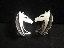VINTAGE STERLING SILVER STALLION CLIP-ON EARRINGS